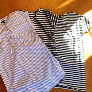 Bundle of three striped shift dresses